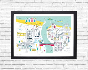 Whitby Art Print. Whitby, North Yorkshire. Matted art print. Ready to frame print. Coastal town illustration.