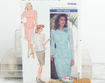 Size 14, 16, 18, Semi fitted top w/ peplum, straight skirt, Butterick (3118), Vintage 1980s Sewing Pattern