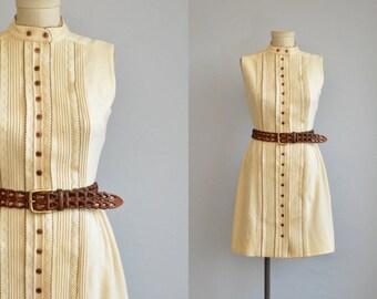 Vintage 1960s Dress / 60s Embroidered Mod Cream Wool Jersey Knit Mini Dress
