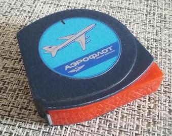 rare vintage Yugoslavian measuring tape measure, yardstick - 2 m, with Aeroflot logo