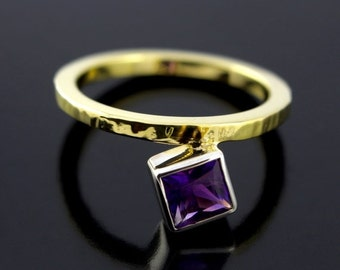 SALE 2 days only February Birthstone Amethyst Ring. Offset Ring. Princess Cut Grape Purple Amethyst Promise Ring in Sterling Silver and Gold