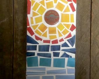 Sunrise Orange Soda Bottle Cap Mosaic