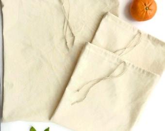 Bulk Bags, Produce Bags Set of 3, Reusable Produce Bags, Reusable Shopping Bags, Farmers Market Bag, Zero Waste, Reusable Bulk Bags, Organic