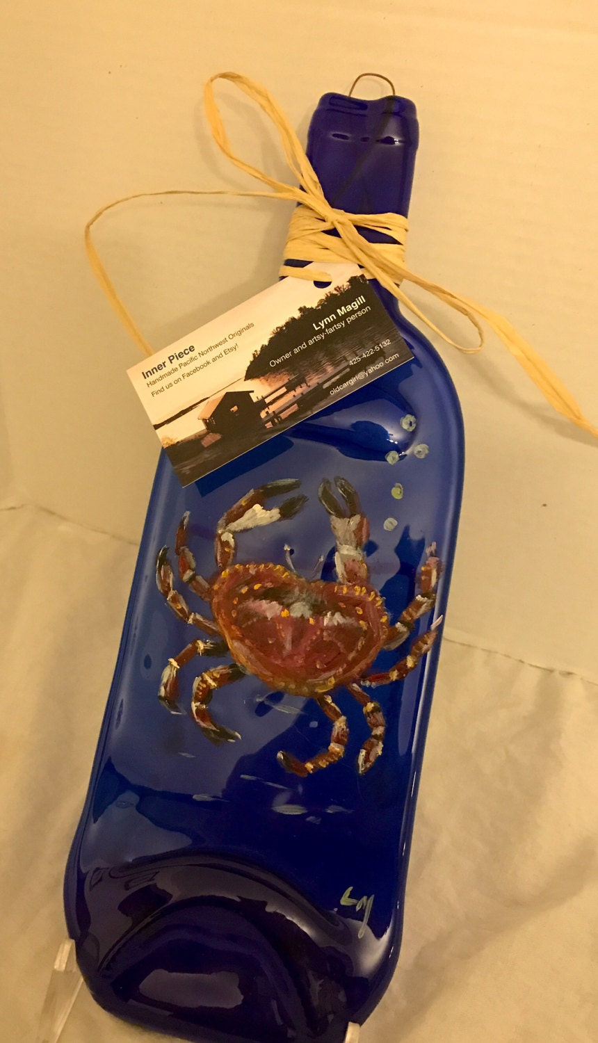 Hand Painted Crab Blue Glass Wine Bottle Tray/Platter