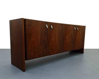 Mid Century Danish Walnut Credenza Sideboard Buffet