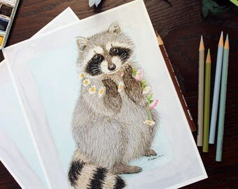 Raccoon and daisy chain Giclee art print. Floral, woodland theme watercolor & color pencil. Nursery or family wall decor. Sweet and elegant.
