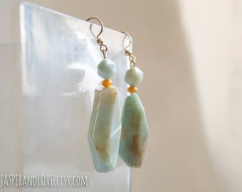 SADIYA light green dangle earrings, green faceted earrings, chunky earrings, sky blue drop earrings, sculptural organic gold filled earrings