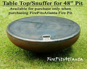Fire Pit 54 inch Steel Table Top - Shipped with firepit only - FirePit Table Top Fire Pit Snuffer Top Metal Fire pit table fire bowl cover