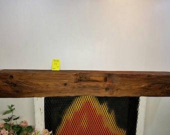 "Reclaimed Barnwood Beam Fireplace Mantle 73"" Long Barn Wood Shelf"