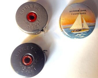 3 vintage tape measures little pal 3 foot celluloid souvenir Norris Dam Tennessee