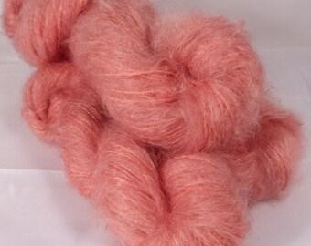 Kid Mohair/wool/nylon ( 75/20/5)  - Chunky( ??)  -  Naturally Dyed Yarn- 50 g. - Cochineal