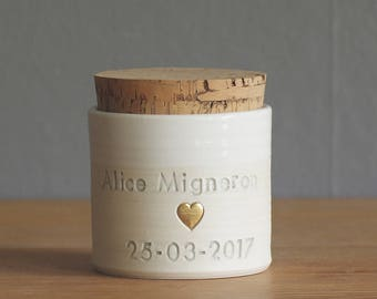 SALE infant urn with cork lid. Optional gold accent heart shown. custom baby urn for ashes or pet urn. cremation urn. white with dove grey s