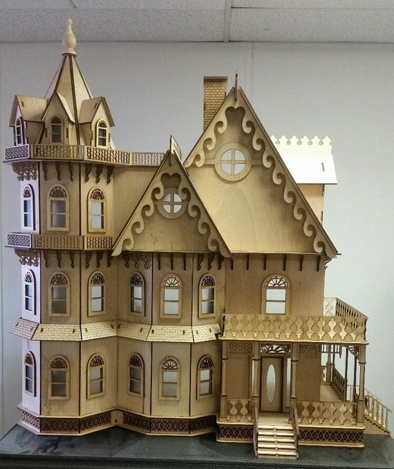 Scale One Inch, Melvina Stanbury Gothic Revival Victorian Mansion Wooden Dollhouse Kit, 1:12 Scale, SHIPS WORLDWIDE