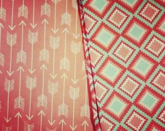 Geo Diamonds and Arrows in Corral Fabric! 100% Cotton.