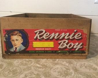 Vintage Wood Fruit Crate, Vintage Graphics,Wood Box,Rennie Boy 36 lb,Farmhouse Decor