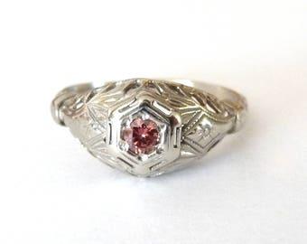Genuine Pink Diamond Ring 18k White Filigree Band Engagement Ring Size 5.5 Art Deco from TreasuresOfGrace