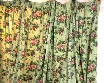 "DRAPES ...  2 Panels Floral 50's Drapes Pleats 36"" "" w at top x 72"" L  ea w 4"" hem"