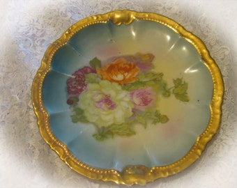 Antique 1895-1910 Porcelain Moschendorf Factory, Bavaria, Germany China Floral Plate-Decorative Gold Trim