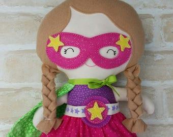 Super Hero Doll Softie Present Birthday Doll Handmade Girl