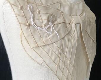 Antique silk collar - embroidered cream