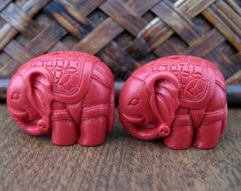 Pair of elephant beads ,Medium, red cinnabar, pendant, spacer, Rich red  ,jewelry making supplies S7699