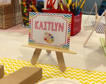 CHEVRON ART PARTY Birthday Buffet Cards Table Tents Food Labels {Set of 8} - Rainbow Colors - Party Packs Available