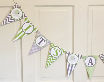 "PREPPY ELEPHANT Birthday or Baby Shower Banner ""It's a Boy""  Lime Green  Gray Chevron - Party Packs Available"