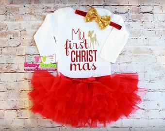 1st Christmas Outfit Baby Girl Christmas Outfit Santa Onesie Newborn Christmas Onesie