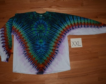 Tie Dye T-Shirt ~ Fire V with Aqua Spider Spiral and White Background~ C_0127 Long Sleeve 2XL