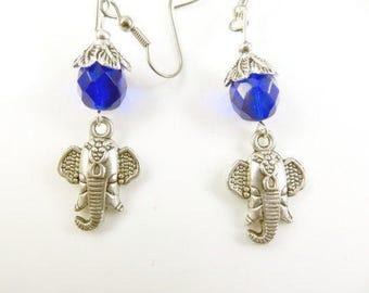 Clearance - Blue elephant earrings