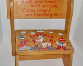 Vintage Child's Wooden Stool Circus Irmi 1966 Child's Chair Step Stool