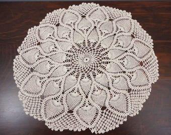 19 inch Ecru Round Hand Crocheted Doily  Pineapple Design