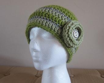 Green Crochet Beanie with Flower, Womans Winter Hat, Womens Beanie, Womens Flower Hat, Beanies with Flower, Metallic Trim Beanie