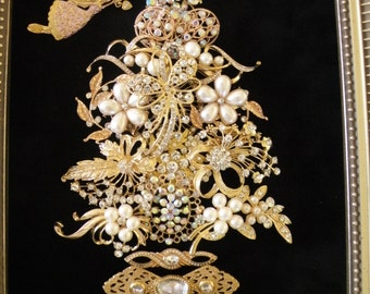 """JEWELED CHRISTMAS TREE, Vintage and New Brooch Tree, Gold and Clear Rhinestone, Pearl Brooches,Unique Christmas Gift, 10"""" x 12"""""""