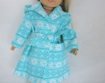 "Hooded doll robe and booties for 18"" doll  AG type dolls Birthday or Valentine gift"