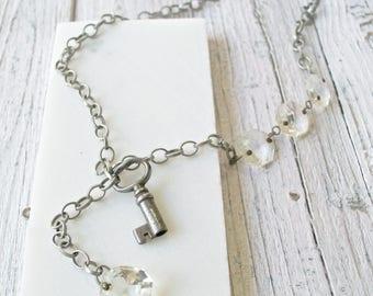 Vintage Key Necklace, Steampunk Necklace, Boho Necklace, Boho Jewelry, Chandlier Crystal Necklace, Antique Key Necklace
