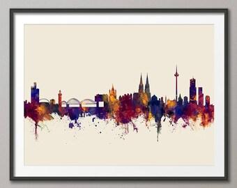 Cologne Skyline, Koln Germany Cityscape Art Print (2813)