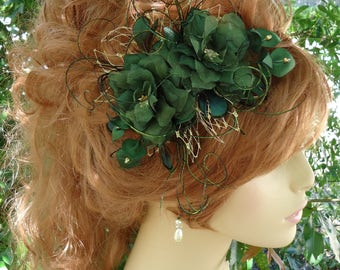 Wedding Barrette, Green Delphinium, Rustic Wedding, Any Color, REX17380