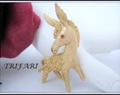Trifari Donkey Brooch - Democrat Pin -  Red Eyed - Gold Tone Pin