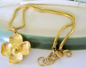 Anne Klein Gold Necklace - Flower Pendant - Signed Snake Chain