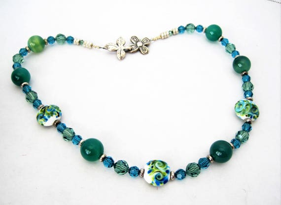 Green Glass Bead Choker - 925 Clasp - Vintage Painted Beads - Faceted Aqua Crystal Spacers