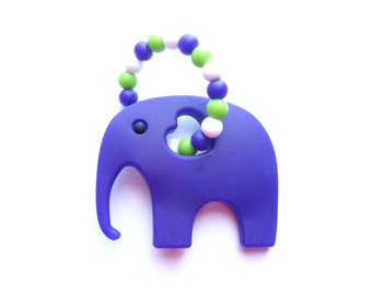 Elephant Teething Toy, Silicone Teething Toy, Baby Teether, Silicone Teether, Blue Teething Toy, Baby Boy Gift, Baby Shower Gift