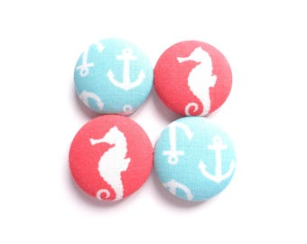 Seahorse Magnets, Anchor Magnets, Nautical Magnets, Fabric Magnets, Fridge Magnets, Cute Magnets, Red Magnets, Turquoise Magnets, Gift Idea