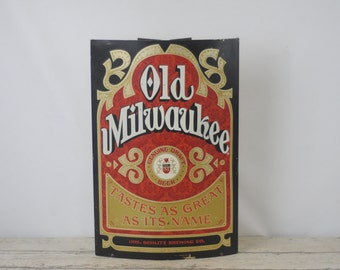 Vintage Metal Old Milwaukee Beer Sign Vintage Beer Advertising Curved Sign 24""