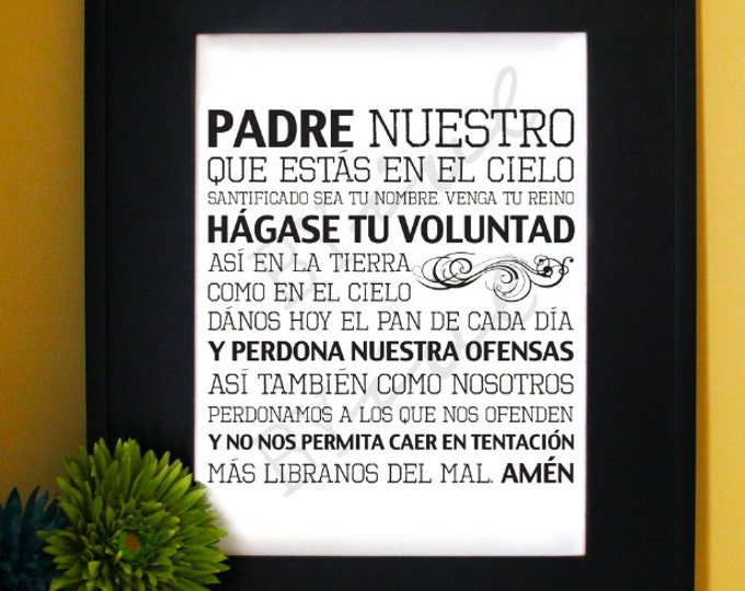 The Lords Prayer in Spanish. Our Father, Padre Nuestro. Matthew 6:9-13. Inspirational Prayer. Subway Art. Unframed.