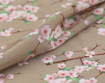"""Silk Crepe de Chine, Digital Printing plum blossom 45"""" 14mm, Luxury Silk Fabric for Evening dresses, summer Skits,Blouses by the yard"""