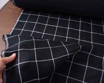 """Linen fabric, special double layers ,fashion big checks, yarn dyed, black, 55"""" for tops, jackets, pants, curtains, bags, craft by the yard"""