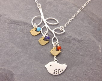 Mothers Necklace, 1-4 kids, birthstone necklace, gifts for mom, new mom necklace, mothers day, baby shower, kids names, mother, N9