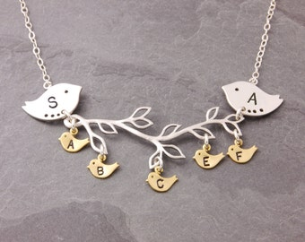 Mother Necklace, 1-8 kids, new parents necklace, mother daughter, birds on a branch, mom necklace, gifts for mom, kids initials, N4