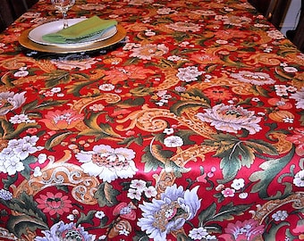 Table Linen, Red Floral Table Cloth, Christmas/Thanksgiving Banquet, 53''x102'' Rectangle Table Cover, Dining/Serving/Holiday Entertaining
